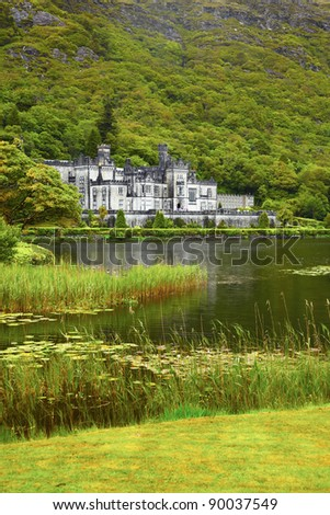Overcast view of Kylemore Abbey in summer, Ireland.