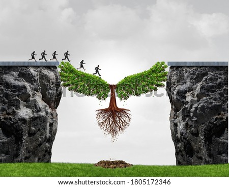 Overcome adversity as a business concept with a group of people running from one cliff to another with the help of a tree for bridging the gap for success with 3D illustration elements. Stock photo ©