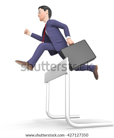 Overcome Businessman Indicating Hurdle Triumph And Entrepreneur 3d Rendering