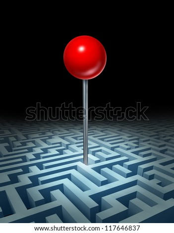 Overcome the obstacles and knowing where your goals are with a complicated three dimensional maze or labyrinth with a red location pin at the place to be with planning and strategy on black.