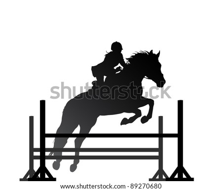 Overcoming of obstacles in horse. Raster version of the loaded vector