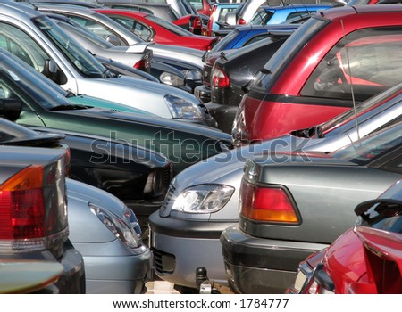 Overcrowded car parking - stock photo