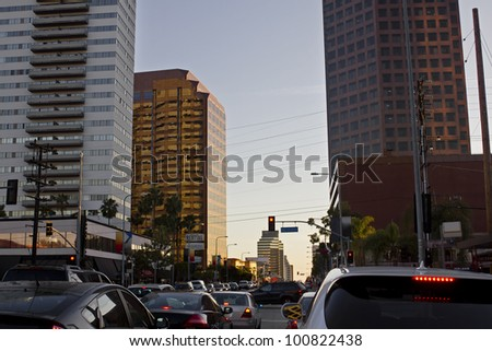 Overcrowded intersection during rush hour in Los Angeles stock photo