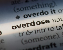 overdose word in a dictionary. overdose concept