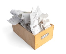 Overfilled box of receipts for filing taxes and deductibles. Wooden storage box with