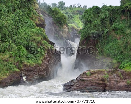overgrown rock formation at the Murchison Falls in Uganda (Africa)