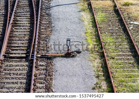 overgrown tracks and rail switch with old wooden planks, Loebau, Saxony, Germany #1537495427