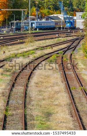 overgrown tracks with old wooden planks and wagons, Loebau, Saxony, Germany #1537495433