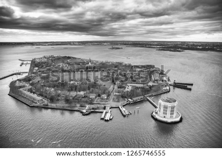 Overhead aerial view of Governors Island from helicopter, New York City in winter.