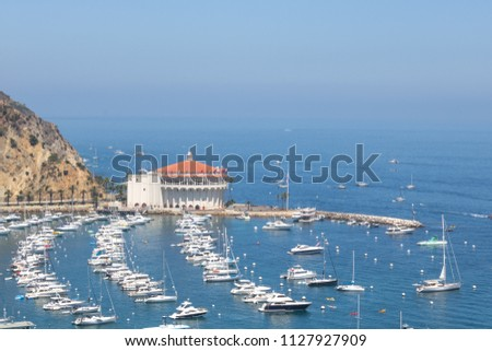 Overhead bay view of Avalon harbor with casino, pleasure pier, sailboats and yachts on Santa Catalina island vacation in California