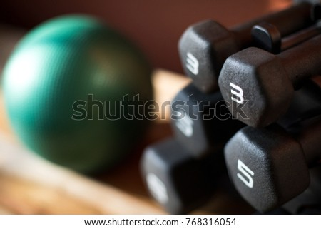 Overhead close up on a rack of black rubber coated dumbbell weights, on a wood bench, with a heavy medicine ball in the blurry background, at a physical therapy and fitness gym