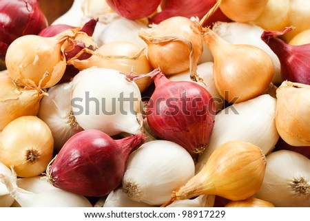 Overhead close up view of colorful red, yellow and white pearl onions