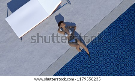 Overhead 3d illustration of a women wearing a white bikini dozing with a foot in a pool at a resort setting.