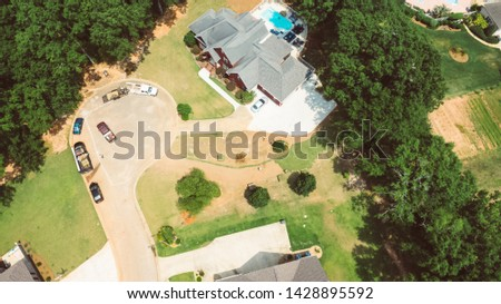 Overhead drone photos of a landscaping job site in a high income neighborhood
