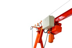 Overhead electric chain hoist  and power control box with drive wheel unit install at mono rail runway beam isolated on white background with clipping path