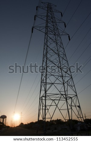 Overhead electricity wires and sunset perspective