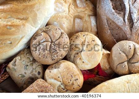Overhead of assortment of  fresh bread