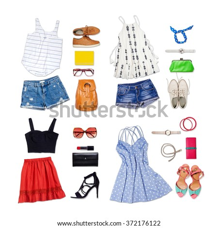 Shutterstock Overhead of clothes and woman accessories. Outfit of casual and modern woman on isolated white background.