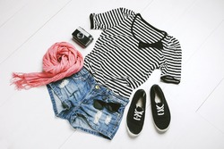 Overhead of essentials of a modern woman.Outfit of casual woman.