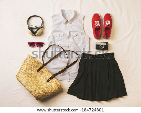 Shutterstock Overhead of essentials vintage woman. Outfit of casual woman.