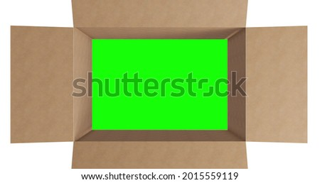 Overhead of green screen in brown cardboard box with lid opening on white background. packing box in preparation for shipment or transportation.
