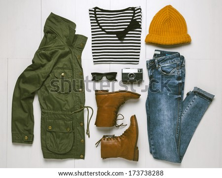 Shutterstock Overhead of hipster woman essentials. Outfit of casual woman.