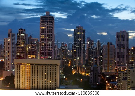 Overhead of Panama city at dusk,Panama, Central America