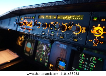 Overhead panel airbus A320 switches Stock photo ©