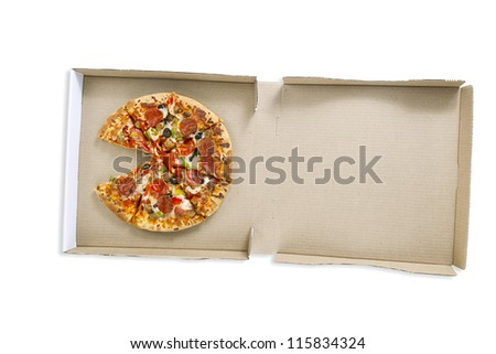 Overhead shot of a delicious pizza in pizza box over white surface.