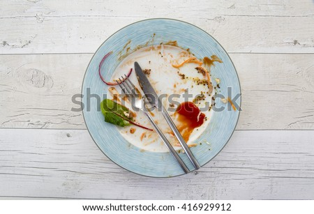 Overhead shot of an empty plate with leftovers from a meal on a white wooden backround #416929912