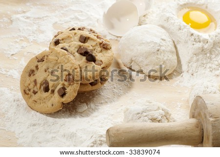 Overhead shot of freshly baked cookies