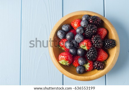 Overhead shot of mixed Summer berry fruits filling a wooden bowl on light blue painted wood planked table. Copy space to left. #636553199