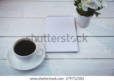 Overhead shot of notepad on a desk