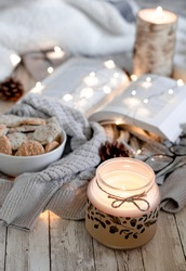 Overhead shot of pumpkin spice cookies and a book to read with a cozy sweater, pinecones, blanket, and wood background.