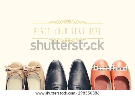 Overhead shot of three pairs of shoes tips in vintage style with copyspace