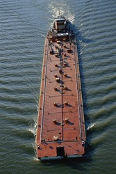 Overhead view of a barge