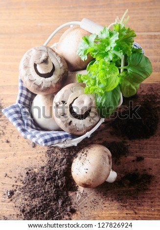 Overhead view of a basket of fresh mushrooms with scattered soil topped with a bunch of basil leaves on a wooden table