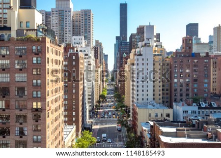 Overhead view of a busy street scene on 1st Avenue in Manhattan New York City