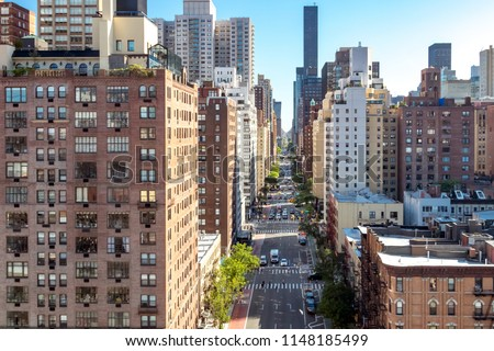 Overhead view of a busy street scene on 1st Avenue in Manhattan New York City #1148185499