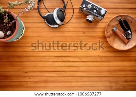 overhead view of a desk with...