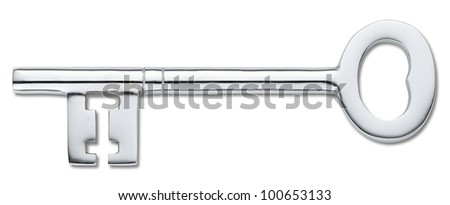 overhead view of a silver door key isolated on white (clipping path)