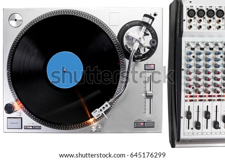 overhead view of a turntable...