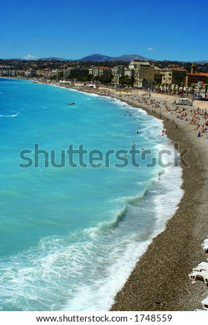overhead view of beaches in Nice, France #1748559