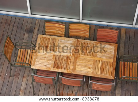 Dinner Table Overhead View : Overhead View Of Casual Dining Restaurant With Wooden Table And Chairs ...