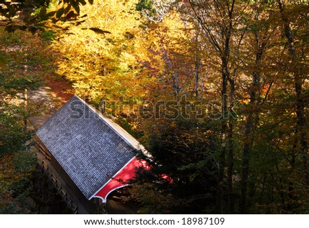 Overhead view of covered bridge in New Hampshire, New England, US in Autumn