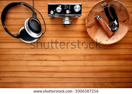 overhead view of headphones and ...