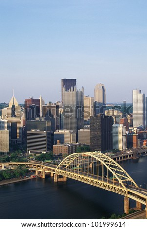 Overhead view of Pittsburgh & Fort Pitt Bridge