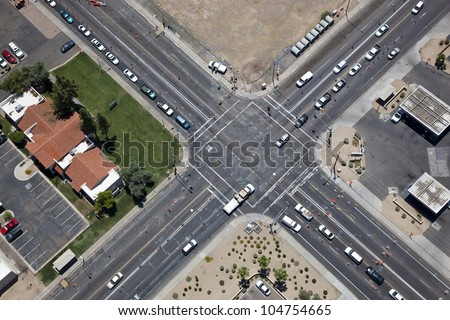 Overhead view of roadwork at an Urban Intersection