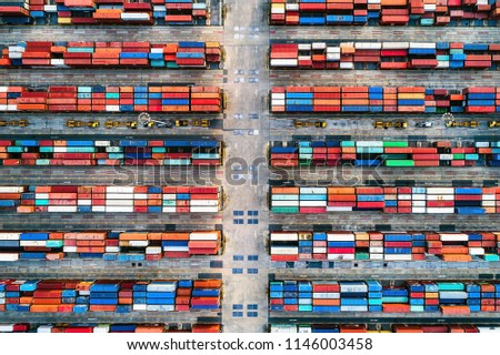 Overhead view of shipping containers at Bangkok Port, Thailand. #1146003458
