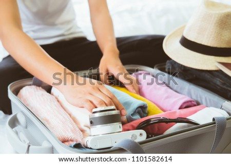 Overhead view of Traveler's accessories, Essential vacation items,Summer holiday background,Travel concept background,Journey planning. Tourist essentials. Space for text #1101582614